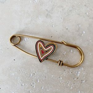 DIOR Heart Safety Pin Brooch